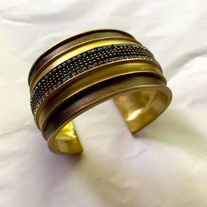 Silpada KR Bronze Leather Gold Wide Cuff Bracelet